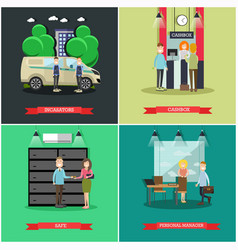Set of bank concept posters in flat style vector