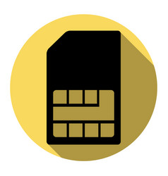 sim card sign flat black icon with flat vector image