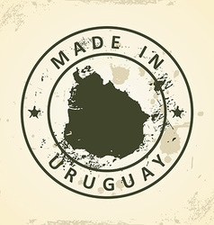Stamp with map of Uruguay vector image vector image