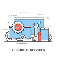 Technical services computer repair support flat vector
