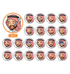 The third set of saudi arab man cartoon character vector
