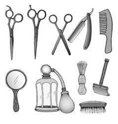 Vintage hairdresser tools set vector