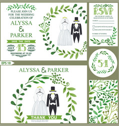 Wedding invitationgreen branches wreath wedding vector