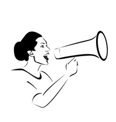woman with megaphone vector image vector image