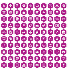 100 business strategy icons hexagon violet vector