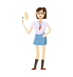 Girl with mobile phone calling icon cartoon style vector