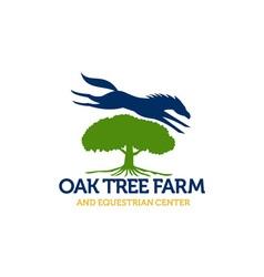 Horse Jumping Over Oak Tree Retro vector image