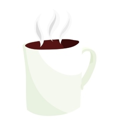 Hot coffee mug icon cartoon style vector