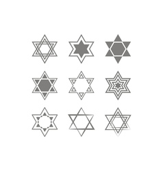 Icons with star of david traditional jewish symbol vector