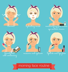 Morning face care routine everyday skincare and vector