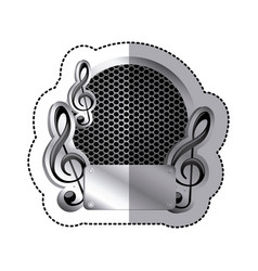 Emblem music plaque icon vector