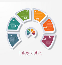 Semicircle diagram with six multicolored elements vector
