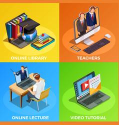 Distance education design concept vector