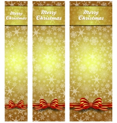 Snowflakes christmas web banners gold vertical vector