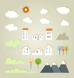 Village and nature design elements vector