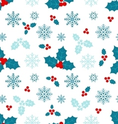 Seamless pattern with christmas holly berry vector