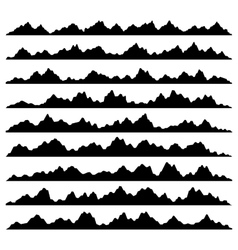 Mountain panoramic silhouettes set on white vector
