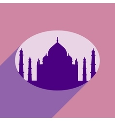 Modern flat icon with long shadow indian taj mahal vector