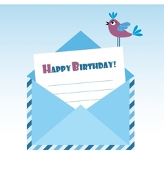 Birthday blue envelope with bird vector