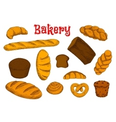 Healthy bakery and pastry sketches vector
