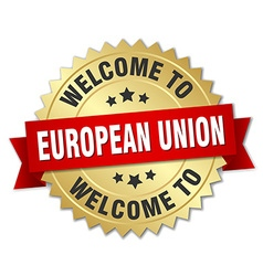European union 3d gold badge with red ribbon vector