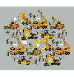 Building construction worker and equipment color vector