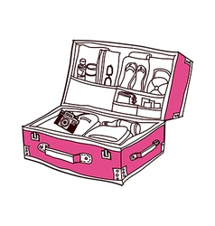 A suit case is opend vector