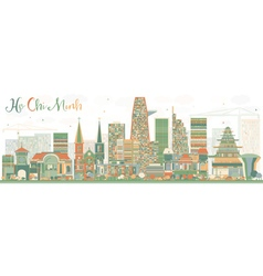 Abstract ho chi minh skyline with color buildings vector