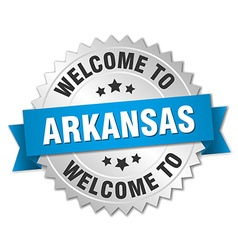 Arkansas 3d silver badge with blue ribbon vector