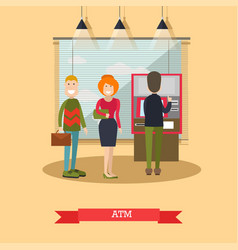 Atm concept in flat style vector