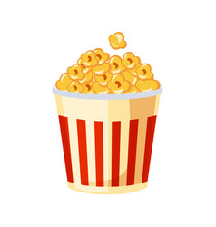Bucket of popcorn for cinema street fast food vector
