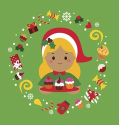 Christmas holiday print with cute girl and sweets vector