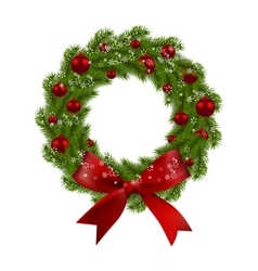 christmas wreath green fir branches with red vector image vector image