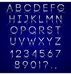 Chrome alphabet letters with reflection on dark vector