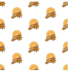 Cinnamon star anise orange pattern seamless vector