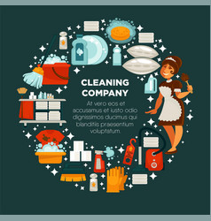 cleaning company promotional emblem with maid in vector image
