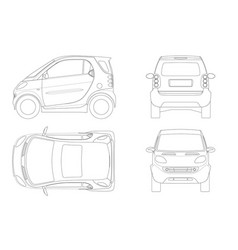 compact smart car in outline small compact vector image vector image