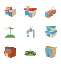 Construction of city icons set cartoon style vector