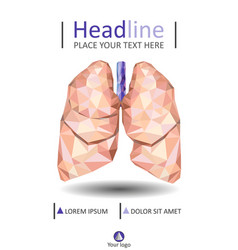 cover design with low poly human lungs vector image