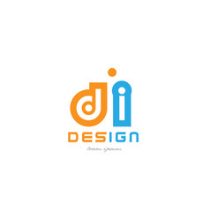 Di d i orange blue alphabet letter logo vector