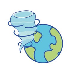 Earth planet with twister natural weather vector