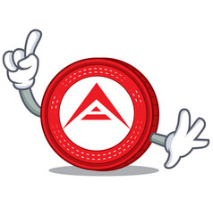 Finger ark coin mascot cartoon vector