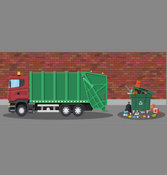 garbage car and trash vector image vector image
