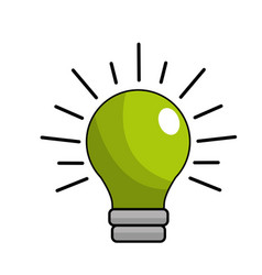 Green traditional bulb light icon vector