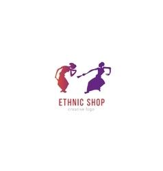 Logo ethnic shop dancing girls vector
