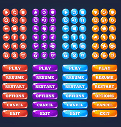 mobile game ui collection of icong and buttons vector image