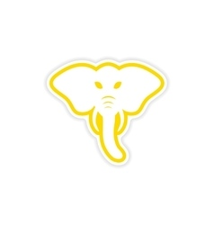 Paper sticker indian elephant on white background vector