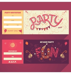 Party hand-lettering invitation ticket vector image vector image