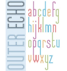 Poster bright echo condensed font striped compact vector