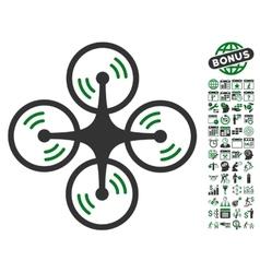 Quadcopter screw rotation icon with bonus vector